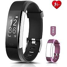 Fitness Tracker, ronten R2Plus Heart Rate Monitor impermeable actividad Tracker, inalámbrico Bluetooth pulsera inteligente con correa de repuesto para Android y iOS Smartphones, black+purple(band)