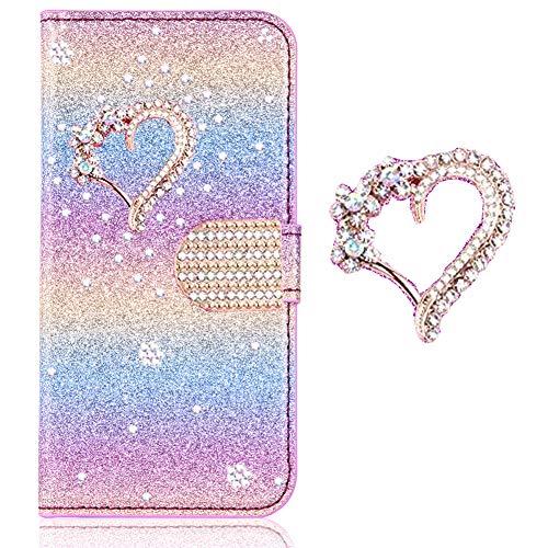 Klassisch Slim Leder Hülle für Samsung A6 2018,BookStyle Bling Glitzer Diamant Schutzhülle Bumper Flip Folio Wallet Stand Card Slots Pocket Etui Handy-cover Rainbow Glitter