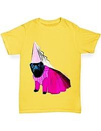 TWISTED ENVY Girl's Princess Pug Premium Cotton T-Shirt