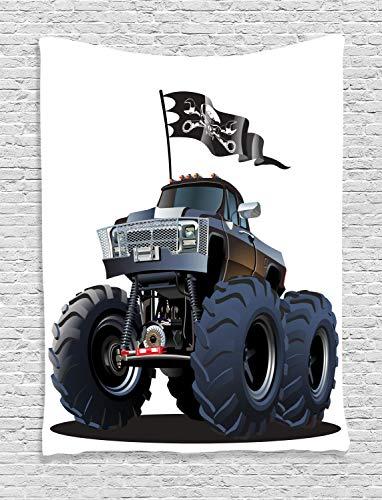 (ABAKUHAUS Karikatur Wandteppich, Monster Truck Pirat, Wohnzimmer Schlafzimmer Heim Seidiges Satin Wandteppich, 100 x 150 cm, Kadett Blau Weiß)