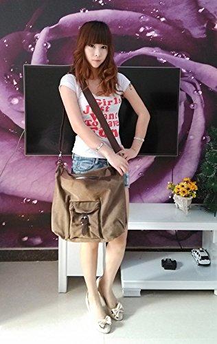Foluton Damen Canvas Handtasche Leinwand Schultertasche Umhängetasche Shopper große Tasche Vintage messenger bag Henkeltasche Beuteltasche Freizeittasche Leinentasche Braun