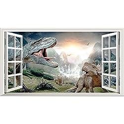 Dinosaurio 3d V001Magic ventana de póster de arte de la pared Tamaño de adhesivo de pared autoadhesivo 1000mm de ancho x 600mm de profundidad (Tamaño Grande)