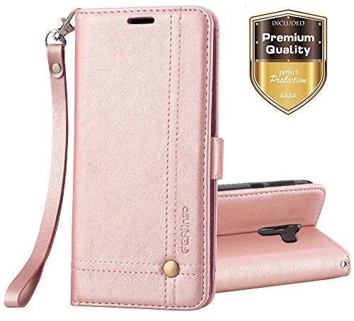 Funda Nokia 7 Plus, Ferlinso Carcasa Cuero Retro Elegante con ID Tarjeta de Crédito Tragamonedas Soporte de Flip Cover Estuche de cierre magnético para Nokia 7 Plus (Oro rosa)