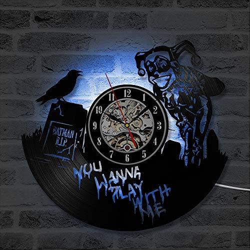 Mcolk Wanduhr Vinyl Fledermaus Und Harley Quinn Schallplatte Uhr Dc Comics Wand Kunst Home Decor Geschenk Für Jungen Und Mädchen