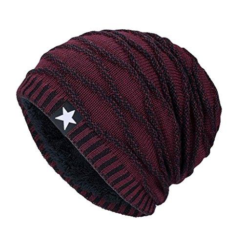 TUDUZ Damen Herren Stricken Mütze Unisex Strickmütze Hedging Kopf Hut Beanie Cap Warm Outdoor Fashion Hut, One Size (Weinrot)