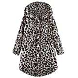 TianWlio Mäntel Herbst Winter Damen Jacken Parka Warme Jacken Strickjacken Knopf Leopard Mantel Flauschige Schwanz Tops Kapuzenpullover Lose Pullover Kaffee S