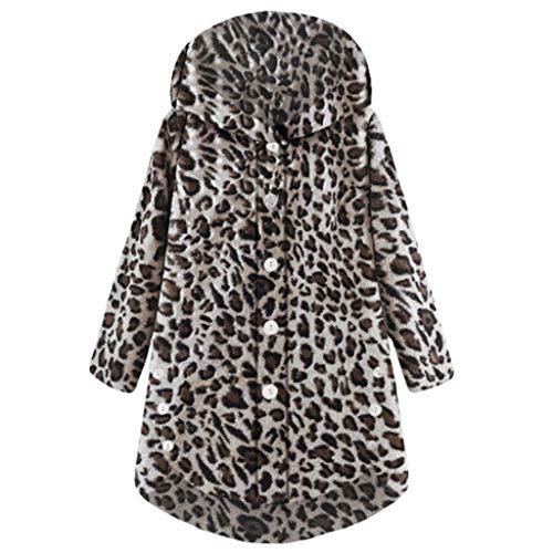HUYURI Damenmode Kunstpelz Leopard Mantel Flauschiger Schwanz Tops Mit Kapuze Lose ()