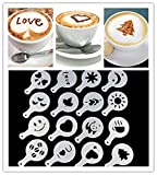 16Pcs Art Coffee Plastic Plate Stencil Template Strew Pad Duster Spray Latte Art H137