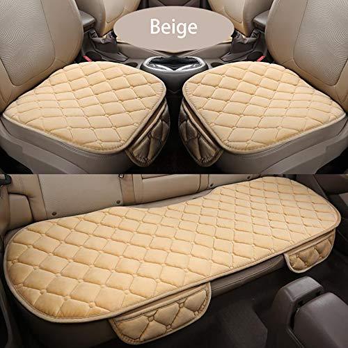 YGB Autositzbezug Plüsch Autositzkissen rutschfest Atmungsaktiv Universell Kratzfest Bankschutzmatte Für Kinder- und Babyautositze, Beige