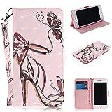 Cozy Hut iPhone 6 Plus / 6S Plus Hülle, PU Leder Tasche mit Intern Karte Schlitz, Magnetic Closure mit Standfunktion und Handy Gürtel Schutzhülle für iPhone 6 Plus / 6S Plus - Butterfly High Heels