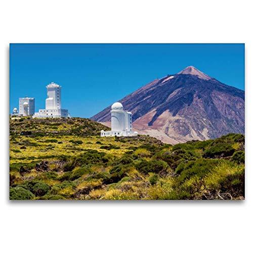 Calvendo Premium Textil-Leinwand 120 cm x 80 cm quer, Observatorium und Vulkan auf Teneriffa | Wandbild, Bild auf Keilrahmen, Fertigbild auf echter Leinwand. Vulkan Teide auf Teneriffa Orte Orte (Home-observatorium)