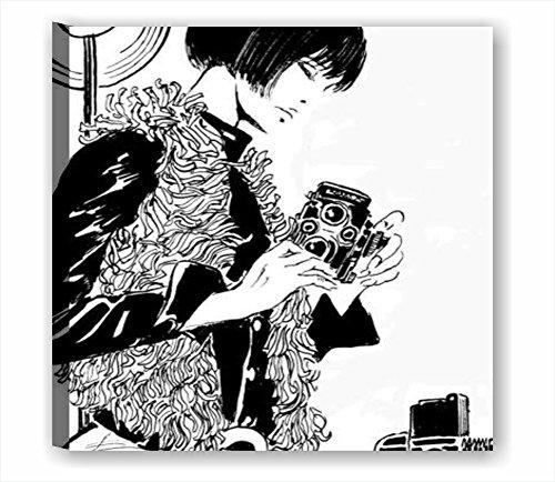Valentina 5 - Quadro Moderno 50x50 cm Tela Stampa rosselli Disegno Bianco e Nero Rosso Film Fumetto Cartone crepax Manga Arredamento casa Salotto Moderno arredo Camera Letto