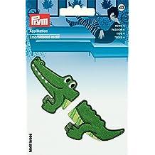 Krokodil Aufnäher // Bügelbild blau 4x9,7cm Patches Aufbügeln