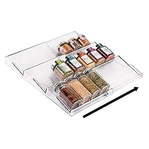 mdesign gew rzregal f r schublade ausziehbarer gew rzst nder von 20 cm bis 39 cm aus. Black Bedroom Furniture Sets. Home Design Ideas