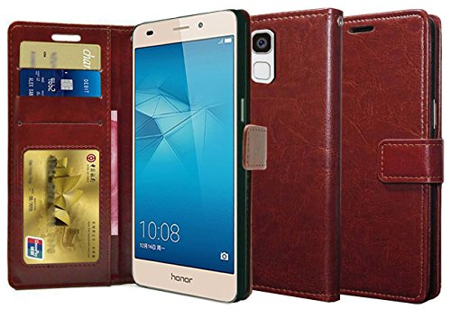 Febelo Premium Quality PU Leather Magnetic Video Stand View Wallet Flip Cover Case for Huawei Honor 5c - Brown Color