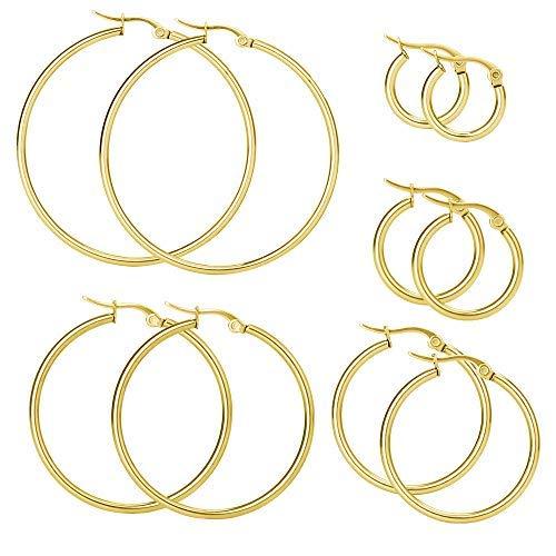 Mannli 5 Paare Edelstahl Creolen Ohrringe Sets 15mm 20mm 30mm 40mm 50mm Rund Groß Hängend Gold Modeschmuck für Frauen Männer
