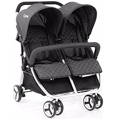 Babystyle Oyster Twin Tungsten grey with Raincover from birth