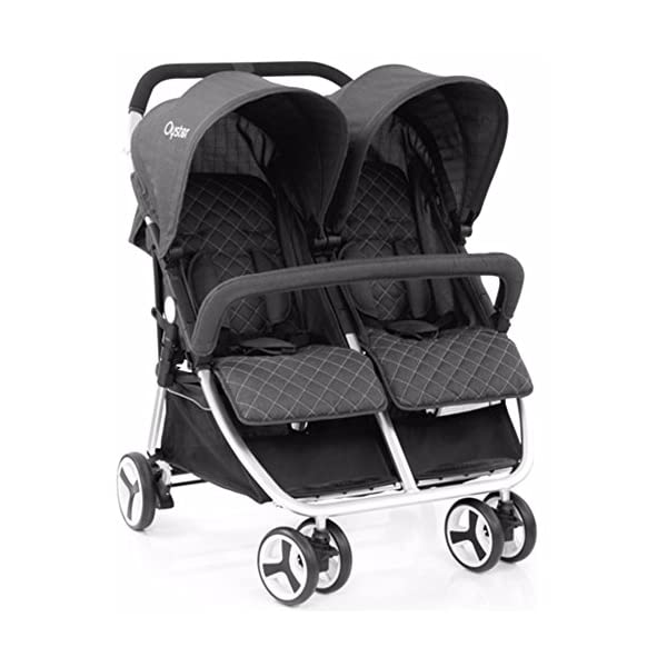 Babystyle Oyster Twin Tungsten grey with Raincover from birth Babystyle Suitable from birth - 20kg Ideal for twins or close-in age siblings Independent lie-flat reclining seat units,Compact fold, Includes raincover 1