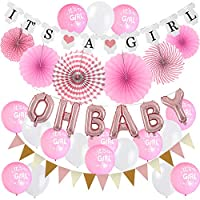 ZERODECO Baby Shower Decorations, Oh Baby Foil Balloon Baby Shower Banners Paper Fans Riangle Bunting Flags Printed Balloons Bridal Shower Party Decorations