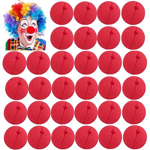 Uoeo 48pcs Lustige rote Nase Schaumstoff Zirkus Clown Nase Magic Dress Party Supplies Cosplay Kostüm Zubehör