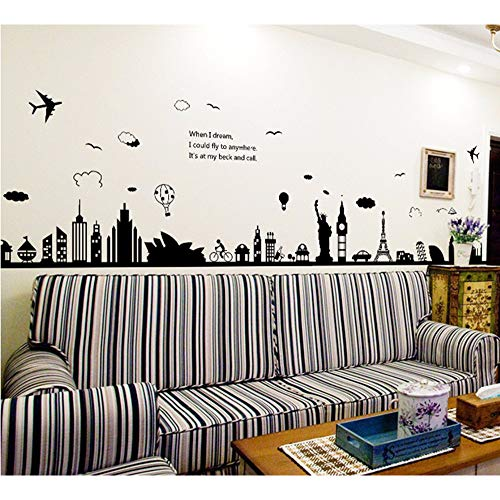 (Meaosy Mode Eiffelturm Sydney Griechischen Stadt Building Set Diy Wandaufkleber Wohnzimmer Hintergrund Decor Wandbild Aufkleber Tapete)