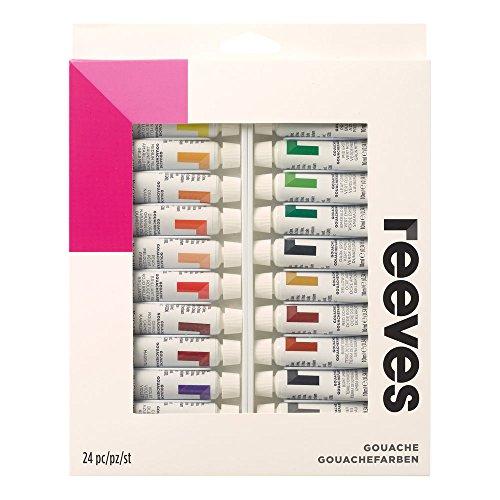 Reeves 8693356 Gouachefarben Set, 24 Farben in 10ml Tuben, gute Deckkraft, Farbbrillanz und Lichtechtheit