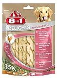 8in1 Delights Pork Twisted Sticks (gesunder Kausnack für Hunde, hochwertiges gedrehtes Hähnchenfleisch, herzhafte und geruchsarme Alternative zum Schweineohr), 35 Stück (190 g Beutel)