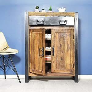 Buffet industriel 2 portes bois naturel, 1 tiroir métal | RA31