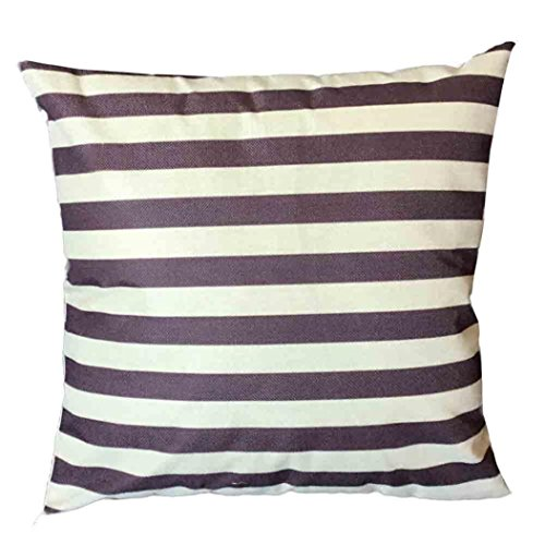 Kavitoz Stripe Print Sofa Bed Home Decoration Square Festival Pillow Case Cushion Cover (Coffee)