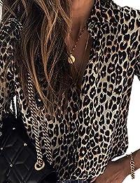 b43a203ce3348f CHICME BEST SHOPPING DEALS Damen Langarm Leopard Bedruckt Casual Shirt  Bluse Oberteile