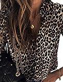 Damen Langarm Leopard Bedruckt Casual Shirt Bluse Oberteile Braun M
