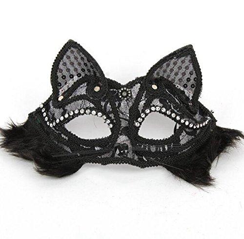 DAYAN Halloween-Maskerade-Masken-Prinzessin Charakter gekleidet Venedig halbe Gesichtsmaske mit Haar Fox