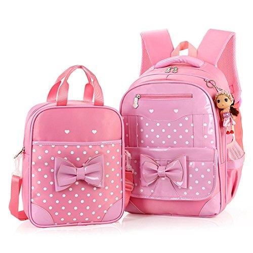 Korean Student Rucksack Wasserdicht 2pcs Kinder Buch Tasche Schulrucksack Mädchen Teen Cute Butterfiy Knoten Rucksack ( Farbe : Pink ) Kleine Rosa Behandeln Taschen