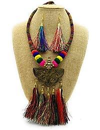 Satyam Kraft Satyam Kraft Trendy Fashionable Thread Colourful Tassel Necklace With Tassel Earring Jewellery For...