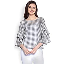 Abiti Bella Women's Bell Sleeves Grey and White Gingham Checks Woven Top
