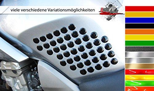 Seitentank-Pad 3D 800040 Dots - individuelle Form - universeller Tank-Schutz passend für Motorrad-Tanks - Honda Tank Protektor