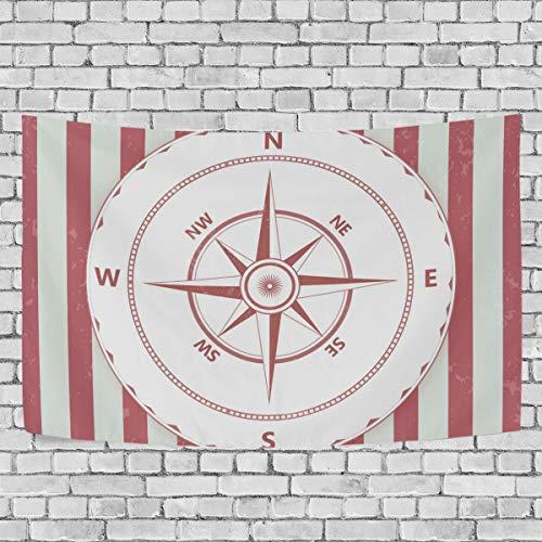 koration, Vintage-Design mit rotem Kompass-Druck, Wandbehang für Schlafzimmer, Wohnzimmer, Studium, Student, Wohnheim, Deko, 152,4 x 101,6 cm, Mehrfarbig, 60x51 ()