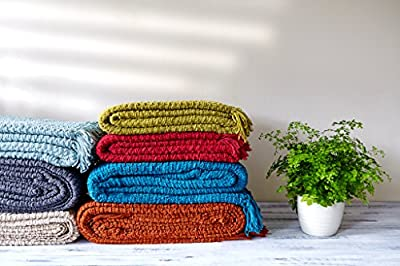 Luxury Chunky Chenille Knitted Sofa / Bed Throw Blanket - low-cost UK light store.
