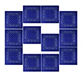 12er Pack Bandanas mit original Paisley Muster in royalblau