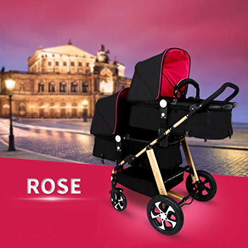 GHH Double Strollers Baby Pram Tandem Buggy Newborn Pushchair Ultra Light Folding Child Shock Absorber Trolley Can Sit Half Lying 0-3 Years Old(Maximum Loadable 50Kg Baby),Gold/red CBDFG