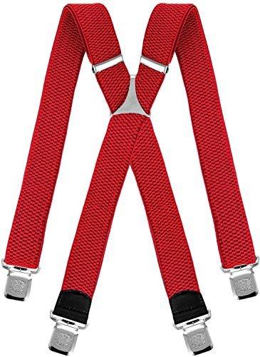 Decalen bretelle uomo donna unisex larghe 4 centimetri forma a x regolabile ed elastico per i pantaloni molto forti clip vari colori (rosso)
