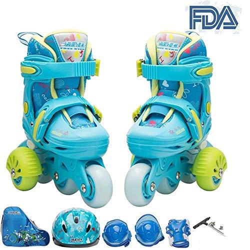 Inline Skates Hilfsrad Kinder Jungen Mädchen Canvas Design- ABEC 7 Kugellager Softboot Einstellbare Rollschuhe Mit Leucht PU Räder Dreifach (Knieschoner Ellenbogenschützer Handgelenk Set),Blue,M