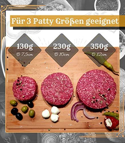 518JEPaA4gL - Le Flair XXL Burgerpresse-Set 4 in 1 -NEUES Modell 2019- mit E-Book | Burger Pattie Presse für Hamburger ideales Grillzubehör BBQ mit Backpapier Patty Maker Burger zum Grillen | Deutsche Marke