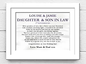 Wedding Gifts For Daughter And Son In Law : Wedding Photo Frame. Daughter and Son in Law Wedding Poem Canvas Gift ...