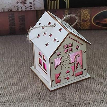 lzndeal Lámpara de Navidad LED Santa Claus Casa Árbol de Navidad Adornos Lámpara Cabina Colgante Decoración para el hogar