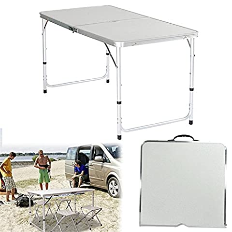 4Ft Folding Table with Adjustable Height Setting & Carrying Handle