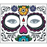 Upxiang Halloween 2PCS Day Of The Dead Dia de los Muertos Face Mask Sugar Skull Tattoo Beauty 15*12.5 cm/ 5.91*4.92inch (A)
