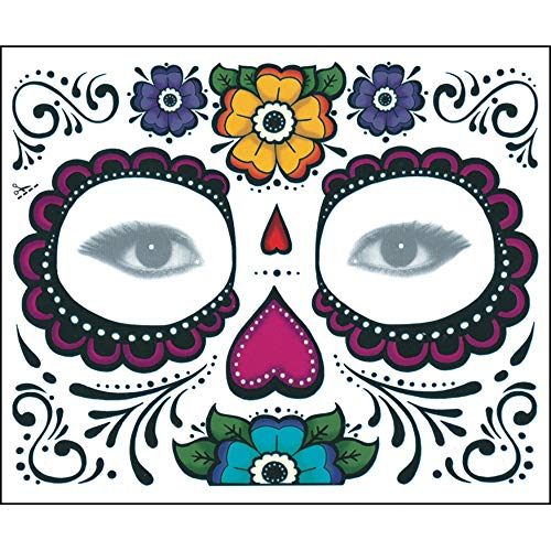 CANDLLY Halloween Dekoration Cosplay Beauty Gesichtsaufkleber 2 STÜCKE Tag Der Toten Dia de Los Muertos Gesichtsmaske Zuckerschädel Tattoo Schönheit Party Zubehör