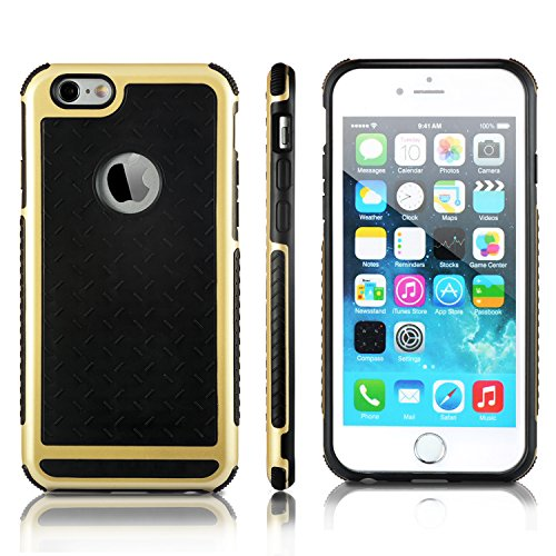 iPhone 6S Hülle technext020 iPhone 6S Fall iPhone 6 Schutzhülle aus Silikon Stoßfänger Slim Soft Schwarz Gold Rückseite bietet ausgezeichnete Griffsicherheit Knight Gold