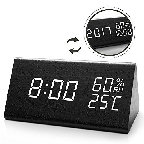 JOYNOTE LED Digitaler Wecker mit Datum/Woche/Temperatur/Feuchtigkeit, 12/24H und 3 Einstellbare Helligkeit, Modern Holz Tischuhr mit 3 Weckzeiten (Schwarz)